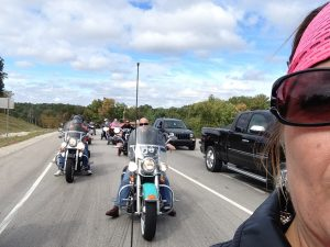 A rider's eye view of the annual Beat Breast Cancer Motorcycle Ride, which helps fund free and subsidized mammograms.